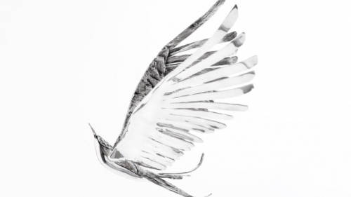 Image of a silver bird with wings extended up vertically