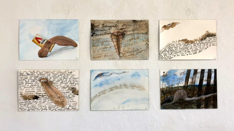 Six drawings in an array