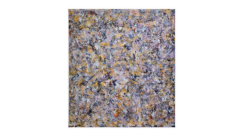 An abstract painting with thin splatted lines of paint in purple, yellow, blue, white, and some browns. The colors suggest a late night in August.