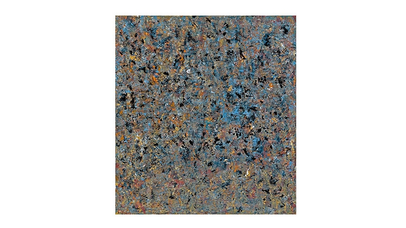 This abstract painting shows dabs of blue, gray, white, black, and yellow paint which look as if they have been sponged on to the canvas densely.
