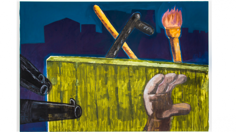 A on the right side of the paining, a black hand with four finers rises in front of a yellow fence. The barrels of two guns points toward the hand from the right side of the painting. Beyond the fence, a torch and two sticks emerge.