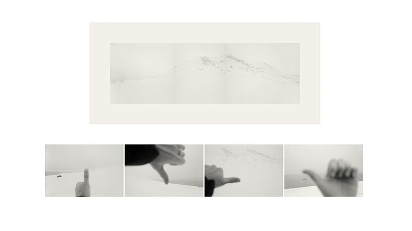 The image has one panel on the top half, showing what looks like a white mountain. Below are four black and white images of thumbs, first pointed up, then down then right, then left in front of a snowy background.