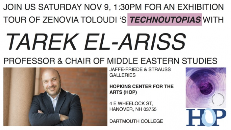 Image of event details and professor Tarek El-Ariss