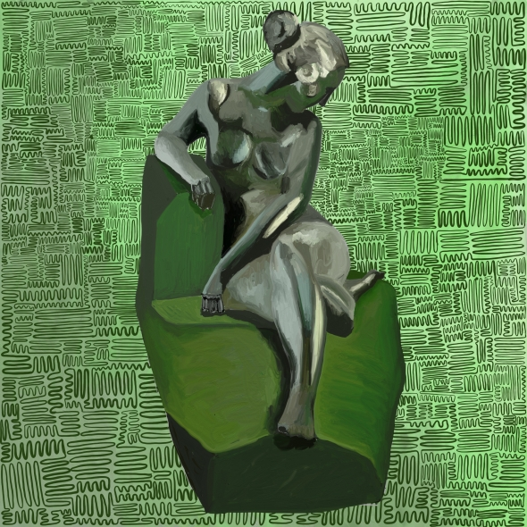 Green pattern in the background with a sculpture like figure in the middle