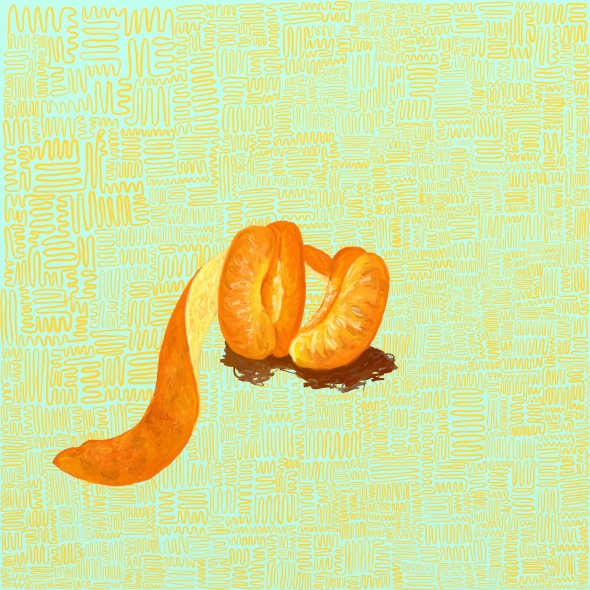 Blue and yellow patterned background, with an illustrated clementine peel in the middle