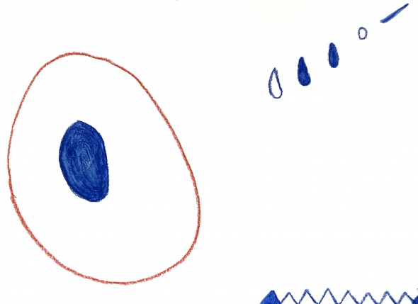 White background; blue circles with thin red loops encircling them